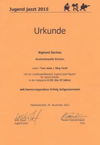 Urkunde Jugend jazzt 2015